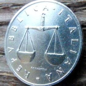 1 Лира, 1952 года, Италия, Монета, Монеты, 1 Lira 1952, Italiana,Italy,Флора, Flora, Ріг достатку,Сornucopia,Рог изобилияна монете, Терези, Libra,Весына монете.