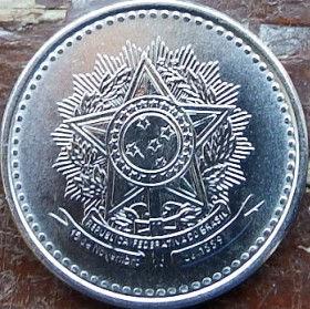 1 Крузадо,1986 года, Бразилия, Монета, Монеты, 1 Cruzado1986, Brasil,Coat of arms of Brazil,Герб Бразилии на монете.