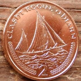 2 Пенса, 2002 года, Остров Мэн, Монета, Монеты, 2 TwoPence 2002, Isle of Man,Човен, Корабель, Boat,Ship,Лодка, Корабль, Sea,Морена монете,Королева Elizabeth II, Елизавета IIна монете, Четвертый портрет королевы.