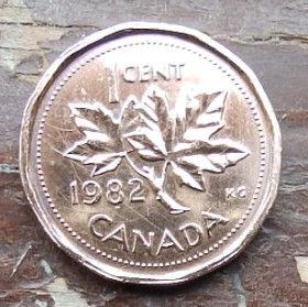 1 Цент, 1982 года,Канада, Монета, Монеты, 1 Cent 1982, Canada,Флора, Кленове листя,Flora, Maple leaves, Флора, Кленовые листьяна монете, Королева Elizabeth II, Елизавета IIна монете, Второй портрет королевы.