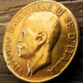 5 Чентезимо, 1921 года, Италия, Монета, Монеты, 5 Centesimi 1921, Italia,Italy, Spikelet, Колосок на монете, Король Виктор Еммануил III на монете.