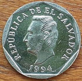 5 Сентаво, 1994 года,Сальвадор, Монета, Монеты, 5Centavos 1994,Republica de El Salvador,Рослинний орнамент,Floral ornament,Растительный орнаментна монете, Francisco Morazan Quezada,Франсиско Морасанна монете.