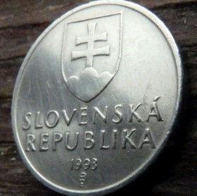 50Геллеров, 1993года,Словакия,Монета, Монеты,50 Hellers1993, Slovenska Republika,Дівоча вежа на скелі, Tower on the rock, Девичья башня на скалена монете, Coat of Arms, Гербна монете.