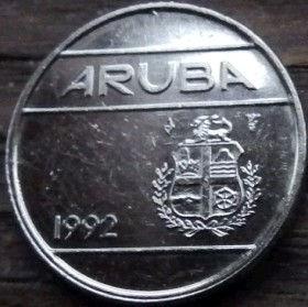 10 Центов, 1992 года, Аруба, Монета, Монеты, 10 Сents1992, Aruba,Coat of arms of Aruba,Герб Арубына монете.