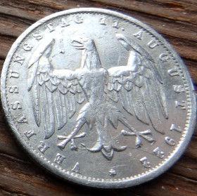 3 Марки,1922 года, Германия, Німеччина,Монета, Монеты, 3 Mark1922,Deutsches Reich,Coat of arms,Герб,Fauna, Фауна, Пташка, Bird,Птица, Eagle, Орел на монете.