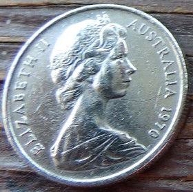 5 Центов, 1970 года,Австралия, Монета, Монеты, 5Cents1970, Australia,Echidna Australian,Австралийская ехидна на монете, Королева Elizabeth II, Елизавета IIна монете, Второй портрет королевы.