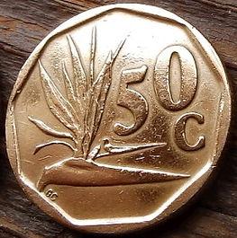 50 Центов, 1994 года, ЮАР,Монета, Монеты, 50 Cents1994,South Africa,Suid-Afrika, Flora, Flower, Strelitzia, Флора, Цветок,Стрелитция на монете, Coat of arms of South Africa, ГербЮАРна монете.