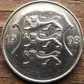 1 Крона, 1993 года, Эстония, Монета, Монеты, 1 Kroon 1993, Eesti Vabariik,Coat of Arms,Герб,Fauna, Фауна,Lions, Львы на монете.