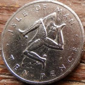 10 Пенсов, 1976года, Остров Мэн, Монета, Монеты, 10 TenPence 1976, Isle of Man, Тринога,Контуры територии острова Мэнна монете,Королева Elizabeth II, Елизавета IIна монете, Второй портрет королевы.