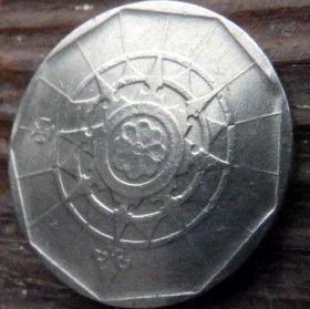 20 Эскудо, 1987 года, Португалия, Монета, Монеты, 20 Escudos 1987, Republica Portuguesa,Portugal,Coat of Arms, Герб на монете,Wind rose,Роза Ветров на монете.