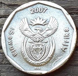 50 Центов, 2007 года, ЮАР,Монета, Монеты, 50 Cents2007,South Africa, Flora, Flower, Strelitzia, Флора, Цветок,Стрелитция на монете, Coat of arms of South Africa, ГербЮАРна монете.