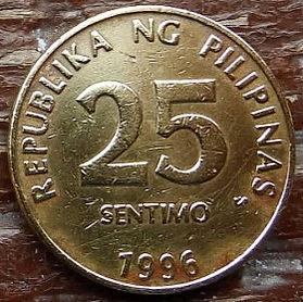 25 Сентимов, 1996 года, Филиппины,Монета, Монеты, 25 Sentimo1996, Republika ng Pilipinas,Emblem,Эмблемана монете.
