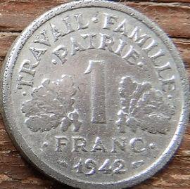 1 Франк, 1942 года, Франция,Монета, Монеты, 1Franc 1942,Etat Francais, France,Oak leaves,Дубовые листья на монете,Spikelets, Колоски,Сокира,Ax, Топорна монете.