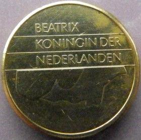 5Гульденов, 1988 года, Нидерланды, Монета, Монеты, 5Guldens 1988, NEDERLAND,Королева Беатрікс на монете.