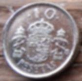 10 Песет, 1992 года, Испания, Монета, Монеты, 10Pesetas 1992, Espana,Spain,Герб,Фауна,Lion,Лев, Корона, Crown на монете,КорольХуан Карлос I на монете.