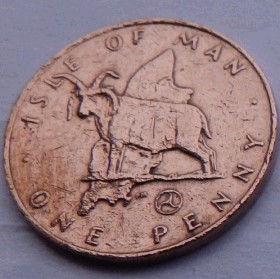 1 Пенни, 1979года, Остров Мэн, Монета, Монеты, 1 OnePenny 1979, Isle of Man, Fauna, Фауна,Вівця,Sheep,Овца, Мэнский лохтанна монете,Королева Elizabeth II, Елизавета IIна монете, Второй портрет королевы.