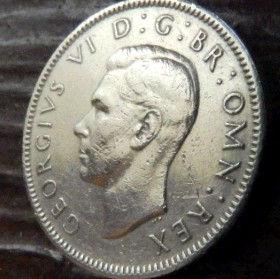 1 Шиллинг, 1948 года,Великобритания, Монета, Монеты, 1 Shilling1948, Корона, Crown, Fauna,Фауна, Lion, Лев,КорольGeorgivs VI,Георг VI на монете.