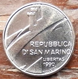 100 Лир, 1990 года, Сан-Марино, Монета, Монеты, L.100, 100 Lire 1990, Republica Di San Marino,Ваги, Терези,Libra,Весына монете, Вежі з герба Сан-Марино, Towers with the coat of arms of San Marino, Башни с герба Сан-Марино на монете.