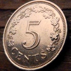 5 Центов, 1972 года, Мальта, Монета, Монеты, 5 Cents 1972, Malta,Рослинний орнамент,растительный орнамент,floral ornamentна монете,Fauna, Фауна,Fish, Рыба, Temple Altar, Алтарь в храмена монете.