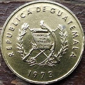 1 Сентаво, 1973 года,Гватемала, Монета, Монеты, 1 Un Centavo 1973,Republica de Guatemala, Bartolome de las Casas, Бартоломе де лас Касасна монете, Coat of arms ofGuatemala, Эмблема Гватемалына монете.