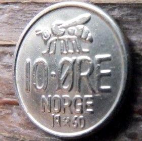 10 Эре, 1960 года, Норвегия, Монета, Монеты, 10 Ore 1960, Norge, Fauna, Фауна, Бджола,Bee,Пчела на монете, Crown,Корона, Monogram,ВензельКороляОлафа V на монете.