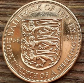1/12 Шиллинга, 1966 года, Джерси, Монета, Монеты, One Twelfthof a Shilling 1966, Jersey,Coat of Arms,Герб,Fauna, Фауна,Lions, Львы на монете,Королева Elizabeth II, Елизавета IIна монете, Второй портрет королевы.