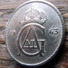 25 Эре, 1963 года, Швеция, Монета, Монеты, 25 Ore 1963, Sverige, Sweden,Crown,Корона,Monogram, ВензельКороляГустава VI Адольфа на монете.