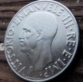 1 Лира, 1940 года, Италия, Монета, Монеты, 1 Lira 1940, Italia,Italy,Coat of arms,Герб,Корона, Crown, Сокира,Ax,Топорна монете, Fauna, Фауна, Пташка, Bird,Птица, Eagle, Орелна монете,Король Виктор Еммануил III на монете.