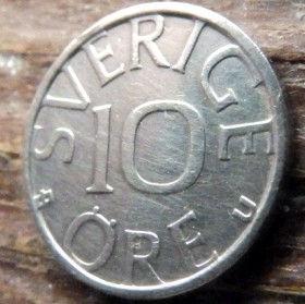 10 Эре, 1978 года, Швеция, Монета, Монеты, 10 Ore 1978, Sverige, Sweden,Crown,Корона, Monogram, ВензельКороляКарлаXVI Густава на монете.