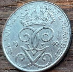 5 Эре, 1949 года, Швеция, Монета, Монеты, 5 Ore 1949, Sverige, Sweden,Crown,Корона,Monogram, ВензельКороляГустава V на монете.