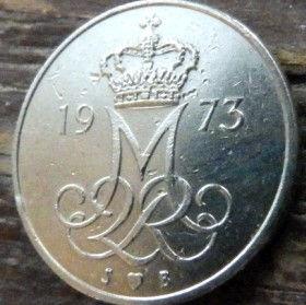 10 Эре, 1973 года, Дания, Монета, Монеты, 10 Ore 1973, Danmark,Oak leaves,Дубовые листья на монете,Crown,Корона,Monogram, ВензельКоролевы МаргретыII на монете.