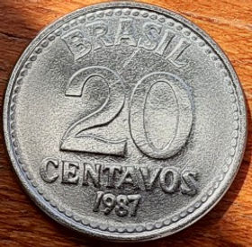 20 Сентаво, 1987 года, Бразилия, Монета, Монеты, 20 Centavos 1987, Brasil, Coat of arms of Brazil, Герб Бразилии на монете.