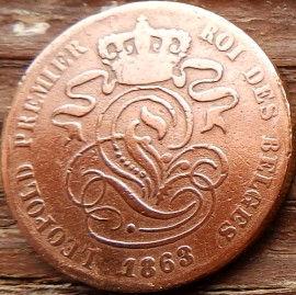 2 Сантима, 1863 года, Королевство Бельгия, Монета, Монеты, 2 Centimos 1863, Фауна, Лев, Lion, Корона, Crown, Монета XIX века.
