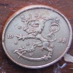 5 Пенни, 1938 года, Финляндия, Монета, Монеты, 5 Pennia 1938,Suomi, Finland,Fauna, Фауна, Lion with sword, Лев с мечом на монете.