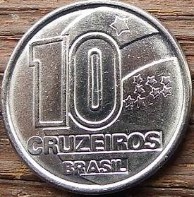 10 Крузейро,1991 года, Бразилия, Монета, Монеты, 10 Cruzeiros 1991, Brasil,Професії,Professions,Профессии,Steelmaker,Сталевар на монете.