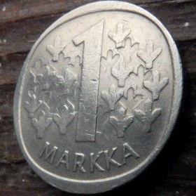 1 Марка, 1982 года, Финляндия, Монета, Монеты, 1 Markka 1982,Suomen Tasavalta, Suomi, Finland, Coat of Arms,Герб,Fauna, Фауна, Lion with sword, Лев с мечом на монете.