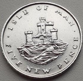 5 Пенсов, 1975 года, Остров Мэн, Монета, Монеты, 5 Five New Pence 1975, Isle of Man, Castle, Замок на монете, Королева Elizabeth II, Елизавета II на монете, Второй портрет королевы.