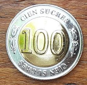 100 Сукре,1997 года, Эквадор, Монета, Монеты, 100 Cien Sucres 1997, Republica del Ecuador, Рослинний орнамент,Floral ornament,Растительный орнамент на монете, Antonio Jose de Sucre,АнтониоХоседе Сукрена монете.