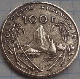 100 Франков, 1976 года, Французская полинезия, Монета, Монеты, 100 Francs 1976, Republique Francaise, Polynesie Francaise, Тропічний пейзаж, Tropical landscape,Тропический пейзаж на монете, Girl, Девушка на монете.