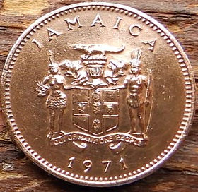 1 Цент, 1971 года, Ямайка, Монета, Монеты, 1 One Cent1971, Jamaica, FAO, ФАО,Флора, Гілка квітучого дерева,Flora, Branch of a flowering tree,Флора, Ветка цветущего деревана монете, Coat of arms ofJamaica, Герб Ямайкина монете.