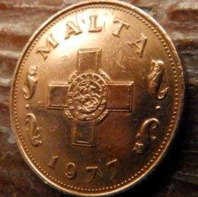 1 Цент, 1977 года, Мальта, Монета, Монеты, 1 Cent 1977, Malta,Рослинний орнамент,растительный орнамент,floral ornamentна монете,Fauna, Фауна,Fish, Рыба, Хрест, Cross, Крестна монете.