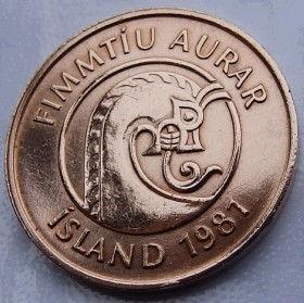 50 Эйре, 1981 года, Исландия, Монета, Монеты, 50 Fimmtiu aurar1981, Island,Iceland, Fauna,Фауна,Shrimp,Креветкана монете, Dragon, Драконна монете.