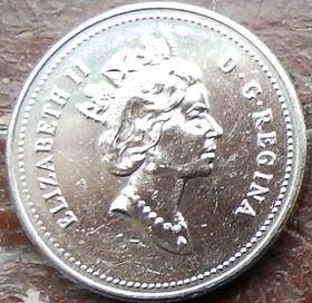 5 Центов, 1990 года,Канада, Монета, Монеты, 5 Cents 1990, Canada,Fauna, Beaver, Фауна, Боберна монете, Королева Elizabeth II, Елизавета IIна монете, Третий портрет королевы.