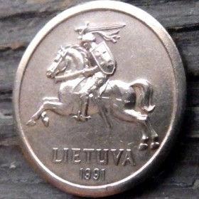 10 Центов, 1991 года, Литва, Монета, Монеты, 10 Centu1991, Lietuva, Coat of Arms,Герб,Воїн на коні,Warrior on horseback,Воин на конена монете.