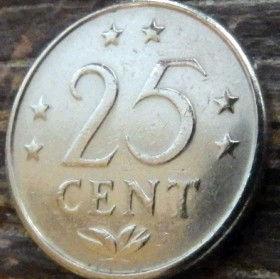 25 Центов, 1970 года, Нидерландские Антильские острова, Монета, Монеты, 25 Сents 1970, Nederlandse Antillen,Зірки, Stars,Звездына монете,Корона, Crown, Coat of arms of the Netherlands Antilles,Герб Нидерландских Антильских острововна монете.