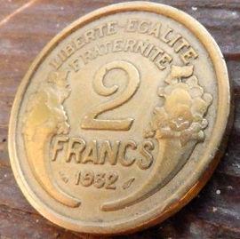 2 Франка, 1932 года, Франция,Монета, Монеты, 2Francs 1932,RepubliqueFrancaise, France,Ріг достатку, Cornucopia,Рог изобилия на монете,Girl,Девушкана монете.