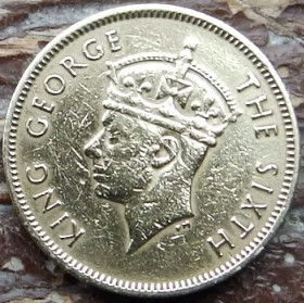 10 Центов, 1950года, Гонконг, Монета, Монеты, 10 Ten Cents 1950, Hong-Kong,КорольGeorge VI, Георг VIна монете.