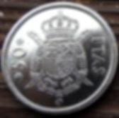 50 Песет, 1975 года, Испания, Монета, Монеты, 50 Pesetas 1975, Espana,Spain,Герб,Фауна,Lion,Лев, Корона, Crown на монете,КорольХуан Карлос I на монете.