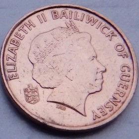 1 Пенни, 1998 года, Гернси, Монета, Монеты, 1 One Penny 1998, Guernsey,Fauna, Фауна,Crab,Крабна монете,Королева Elizabeth II, Елизавета IIна монете, Четвертый портрет королевы.