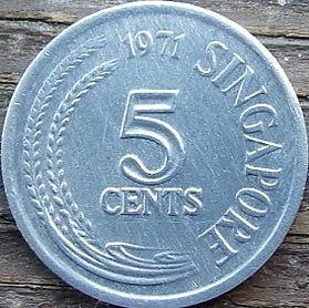5 Центов, 1971 года, Сингапур, Монета, Монеты, 5 Cents1971, Singapore, Flora, Spikelets, Флора, Колоски на монете, Fauna, Fish, Фауна, Рыба на монете.